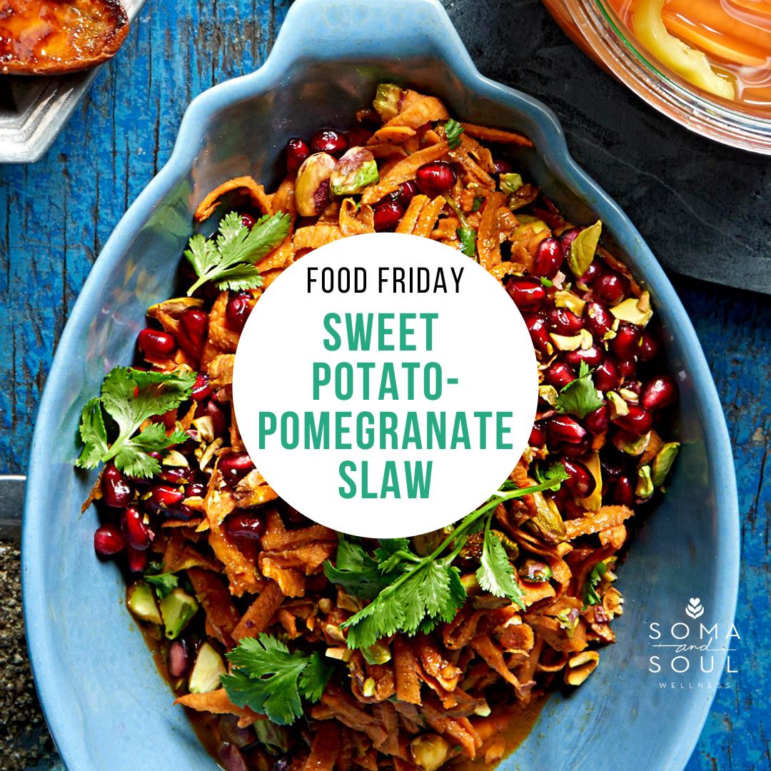 Sweet Potato-Pomegrante Slaw