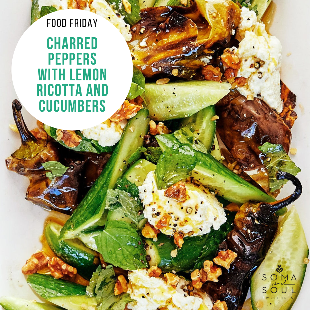 Charred Peppers with Lemon Ricotta and Cucumbers